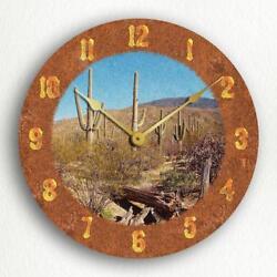 Saguaro Cactus Beautiful Rustic Western Theme 12 Silent Wall Clock