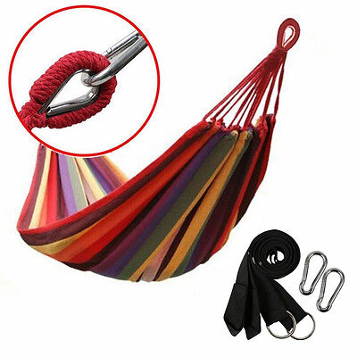 Portable Cotton Rope Outdoor Swing Fabric Camping Hanging Hammock Canvas Bed for sale  USA