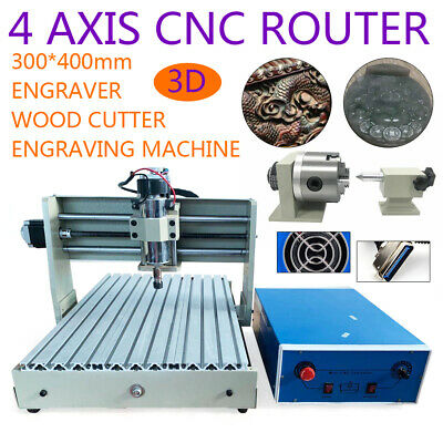 3040 4axis Cnc Router Engraver Engraving Machine Carving 3d Cutter Wood 400w