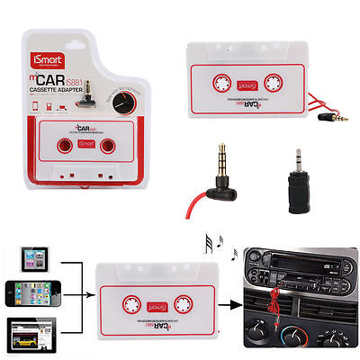 White Audio Cassette Tape Adapter Aux 3.5mm Jack for to MP3 iPod CD Player + Mic