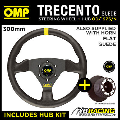SEAT AROSA ALL 02- OMP TRECENTO 300mm SUEDE LEATHER STEERING WHEEL & HUB KIT