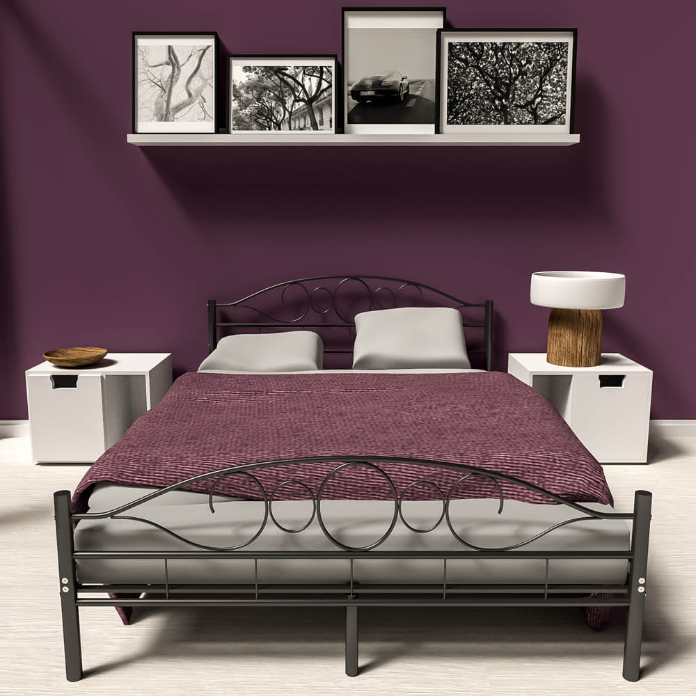 140x200 cm schlafzimmerbett metallbett bettgestell bett schwarz neu lattenrost eur 99 89. Black Bedroom Furniture Sets. Home Design Ideas