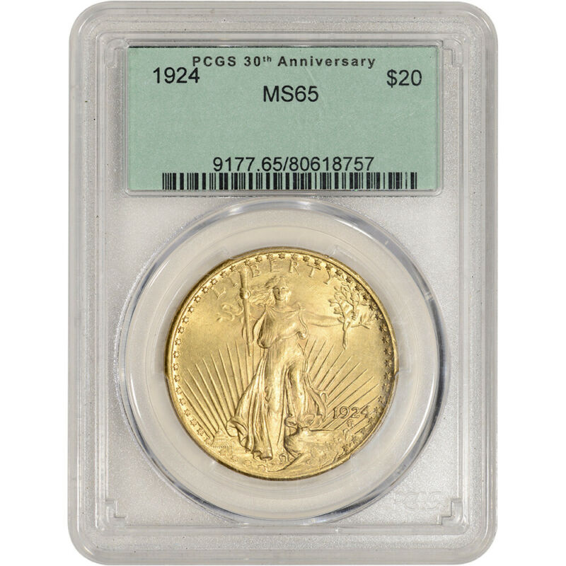 US Gold $20 Saint-Gaudens Double Eagle - PCGS MS65 Green Label - Random Date