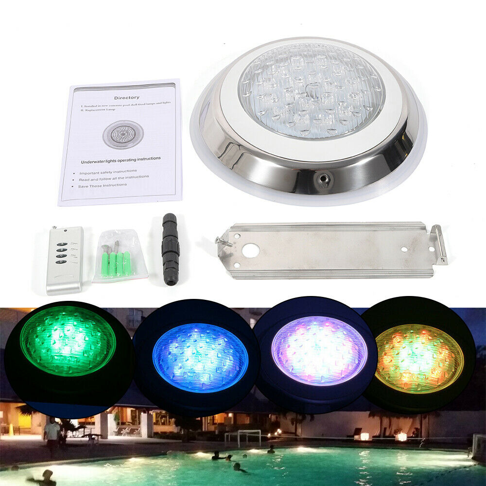 Details about 54W RGB LED Swimming Pool Lights 24V Underwater Waterproof  Lamp + Controller USA