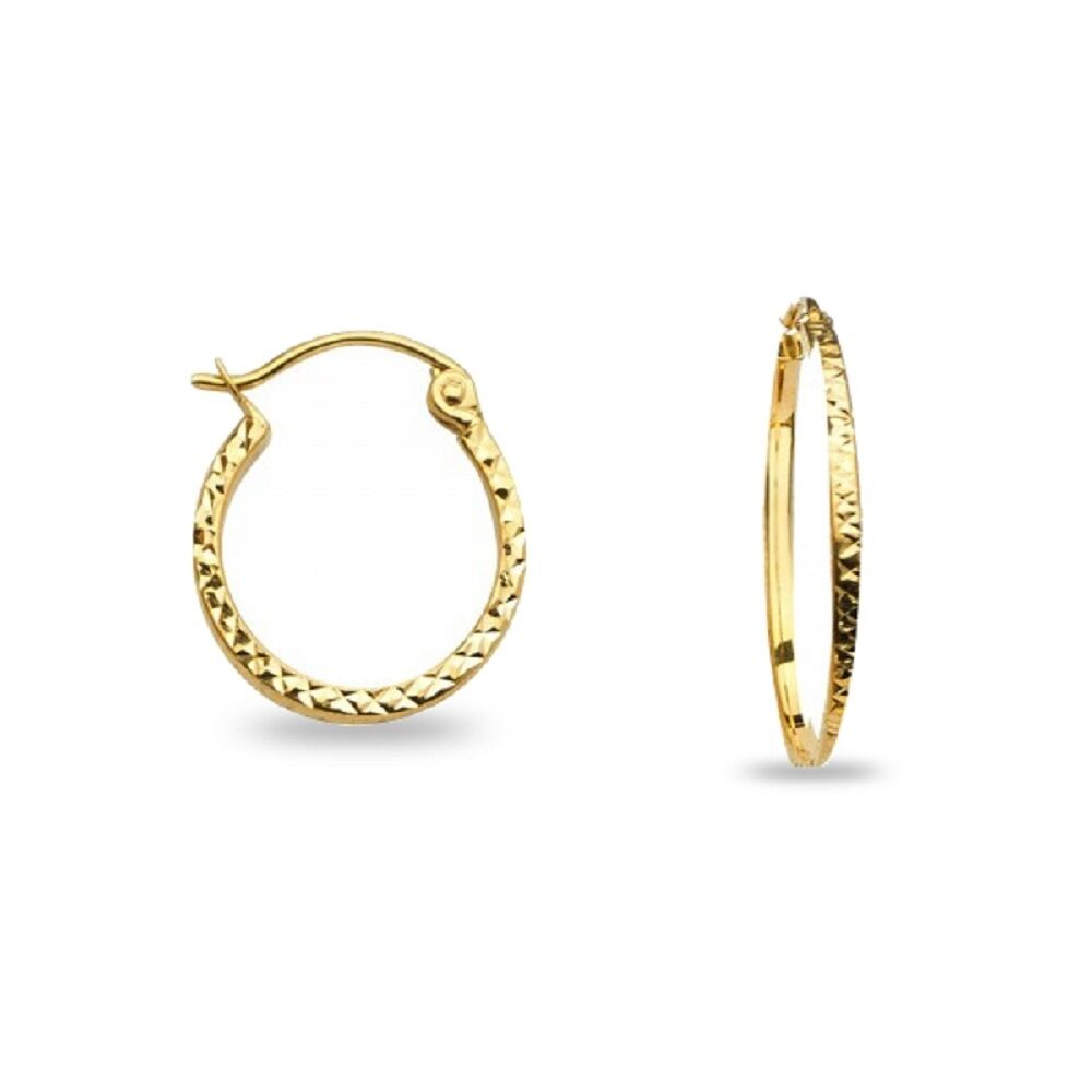 14k Yellow Gold Small Round Hoops Square Tube Earrings Diamond Cut French Lock