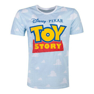 Disney Toy Story 4 Logo With All Over Clouds T Shirt Mens Blue
