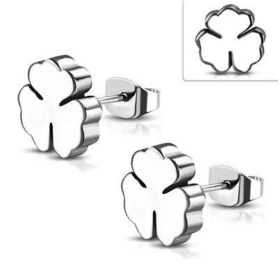 Stainless Steel Post Shamrock Stud Earrings