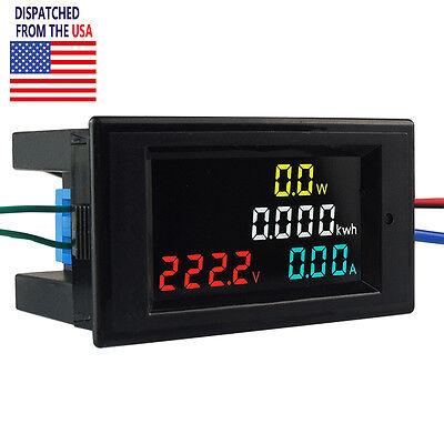 US AC 80-300V 100A LCD Digital Voltmeter Ammeter Volt Amp Power Kwh Panel Meter ()
