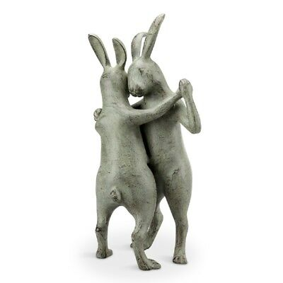 Bunnies First Dance Rabbit Couple Garden Sculpture Metal Garden Bunny Statue