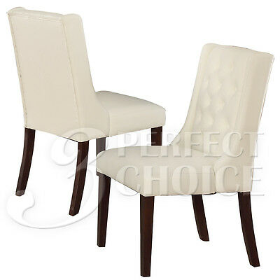 (Set of 2 Dining Side Chairs Tufted Back White Comfort Upholstery PU Leather)