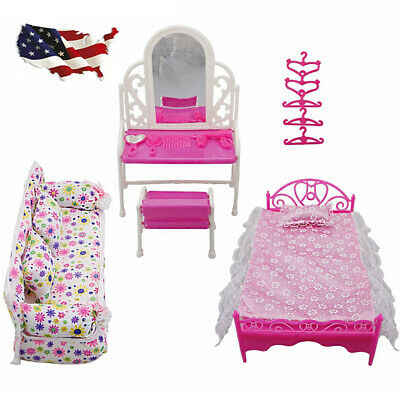 Barbie Doll Princess Bedroom Dollhouse Furniture Accessories Playset 8X Kids Toy