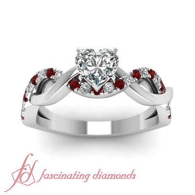 1 Ct Heart Shaped Diamond & Red Ruby Pave Set Engagement Ring Solid 14K Gold GIA 1