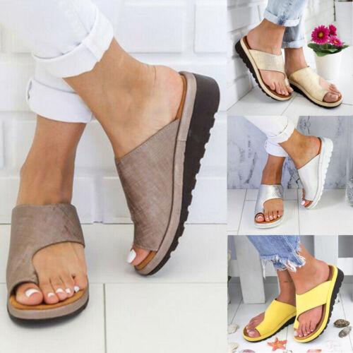 Women Flat Low Wedge Platform Toe Ring Slippers Ladies Comfy
