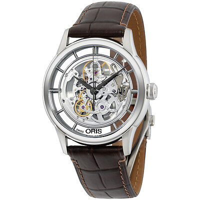 Oris 73476844051LS Watch Artelier Skeleton Mens Silver Dial Steel Case Automatic