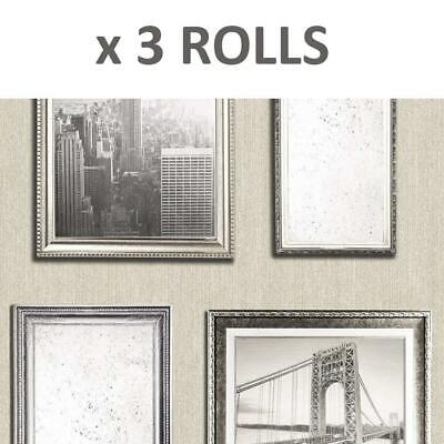 3 Rolls New York City Photo Frame Wallpaper Pearl Antique Gold Embossed Glitter