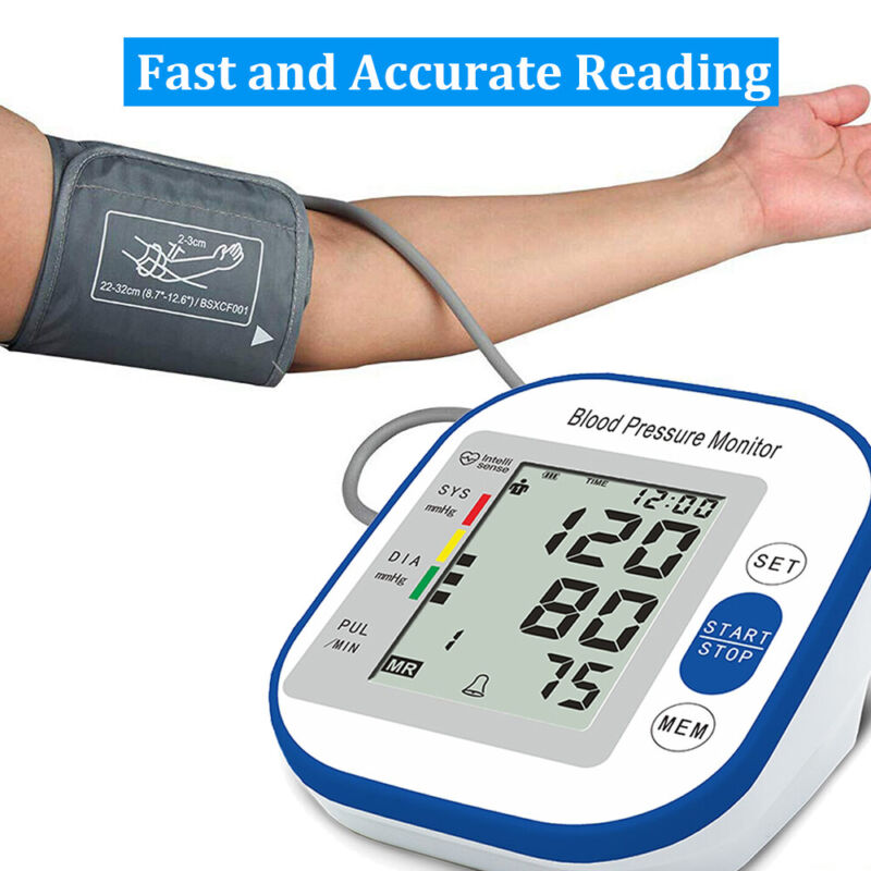 Automatic High Blood Pressure Monitor BP Cuff Gauge Heart Rate Machine US Stock