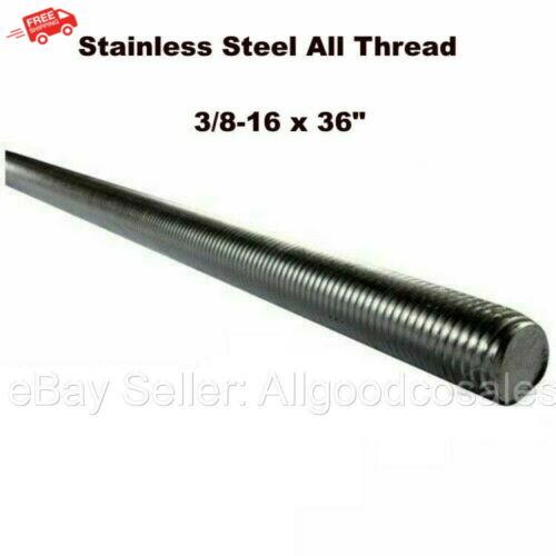 "Stainless Steel All Thread 3/8-16 x 36"" Threaded Rod Grade 304 3 Ft. Length"