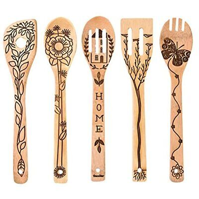 5 PCS Wooden Spoons For Cooking, Home Pattern Burned Kitchen Utensils Set, Great