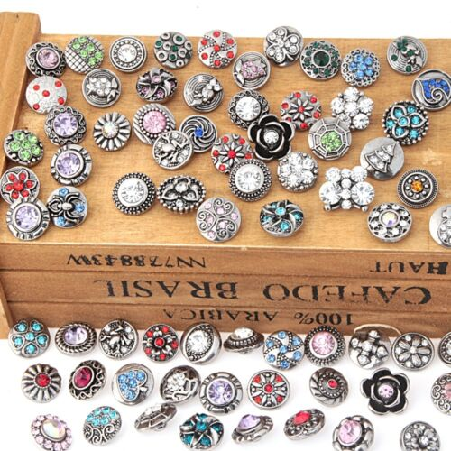 18mm 3D Rhinestone Drill Snaps Chunk Charm Button For Noosa Leather Bracelets 73