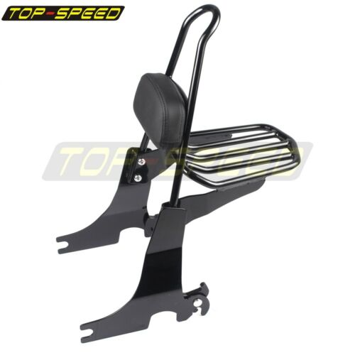 Black Backrest Sissy Bar with Leather Pad For Harley Sportster 883 1200