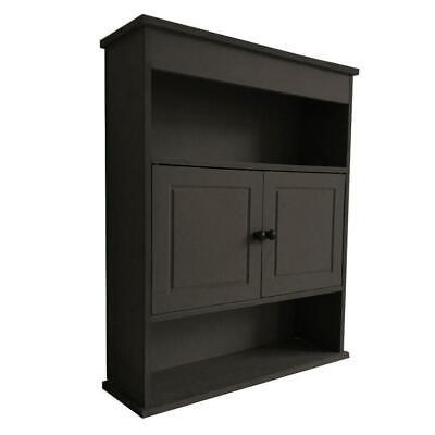 Bathroom Wall Mount Cabinet Medicine Storage Wood Shelf Organizer Brown
