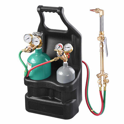 Welding Brazing Cutting Outfit Torch Tool W Refillable Acetylene Oxygen Tanks