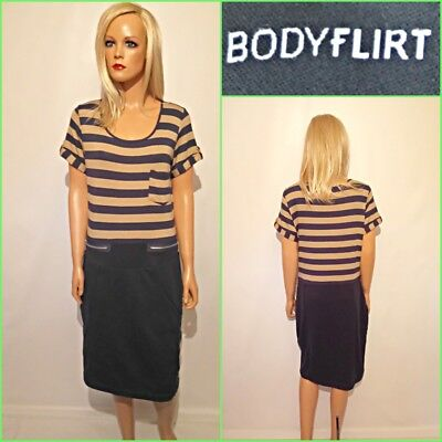 NEW BODY FLIRT UK 12/14 NAVY AND BEIGE STRIPPED SHORT SLEEVE JERSEY DRESS #4227 ()