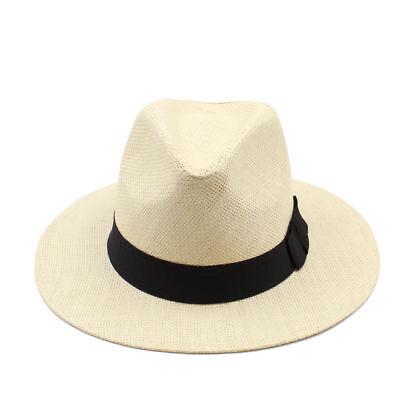Summer Unisex Fashion Beach Casual Panama Straw Sombrero Hat With Black Ribbon