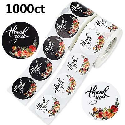 Sticker Rolls (DREAMYHOUSE 2 Rolls 1000 Round Floral ''Thank You'' Stickers Labels)