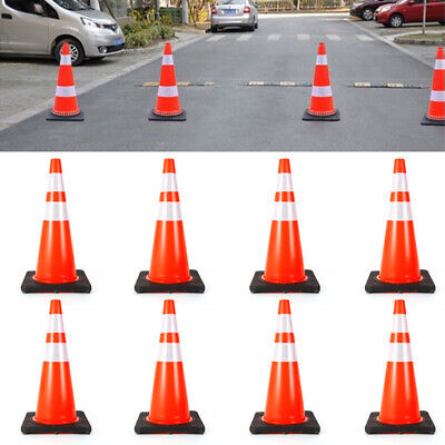 8x 28pvc Traffic Safety Cones Durable Wfluorescent Reflective Strip Recyclable