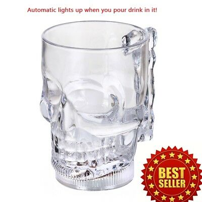 Skull Colorful LED Wine Whisky Cup Flash Light Beer Drink Glass Bar Party