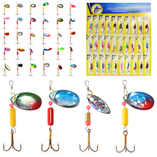 Luminous Trout Spoon Metal Fishing Lures Spinner Baits Bass Hooks Tackle