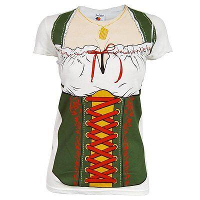 Womens Fräulein Beer Festival Kostüm T-Shirt Weiß Oktoberfest - Womens Fraulein Oktoberfest Kostüme