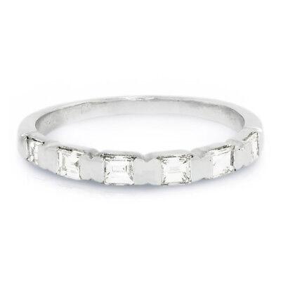 Baguette Diamond Channel Set Wedding Band 14K White Gold .50ctw Bridal Channel Set Baguette