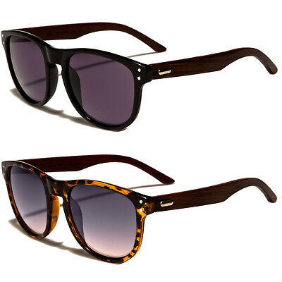 (80s Mens Womens WOOD Vintage Classic Fashion Designer Vintage Sunglasses Black)
