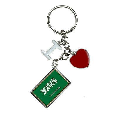 Flag of Saudi Arabia I Heart Love Keychain Key Ring