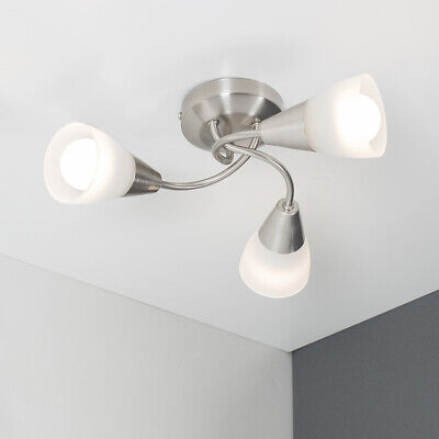 Modern 3 Way Semi Flush Ceiling Light Fitting Brushed Chrome + Glass Lounge Home