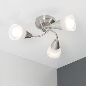 Modern 3 Way Semi Flush Ceiling Light Fitting Brushed Chrome + Glass Lounge Home