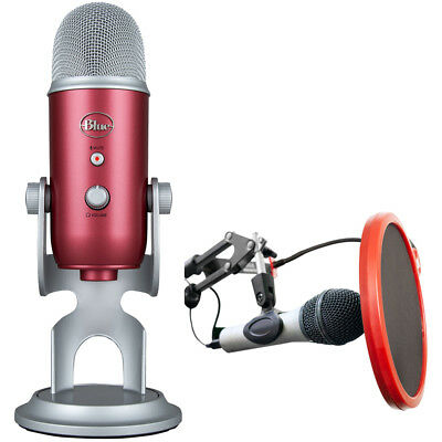 BLUE MICROPHONES Yeti USB Microphone Steel Red + Mic. Wind S