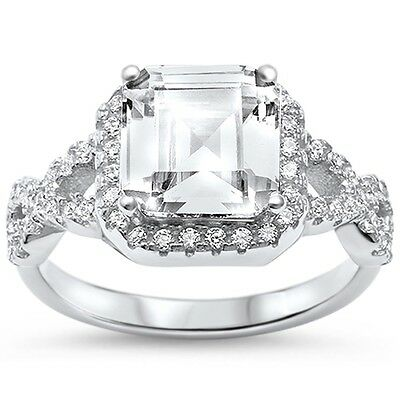 Asher Cut Square Twisted Infinity Engagement .925 Sterling Silver Ring ()