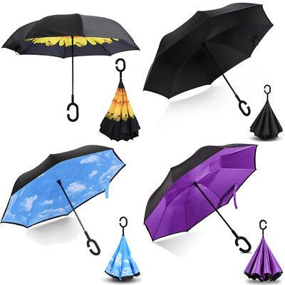 C-Handle Folding Inverted Umbrella Double Layer Windproof Upside Down Reverse US