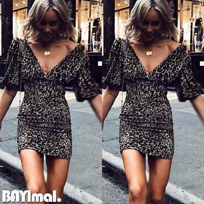 Womens Sexy V Neck Short Sleeve Mini Dress Ladies Party Leopard Bodycon Dresses