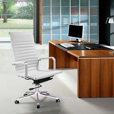 High Back Ribbed Pu Leather Office Chair Executive Computer Desk Modern White