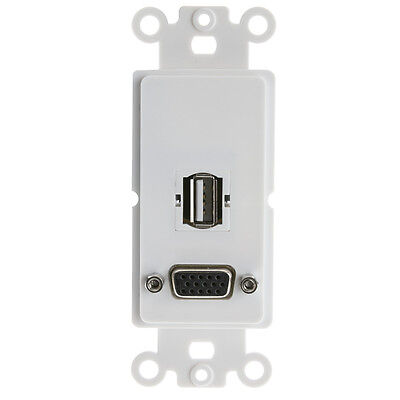 Decora Wall Plate Insert, White, VGA - HD15 Coupler and USB Type A Coupler ()