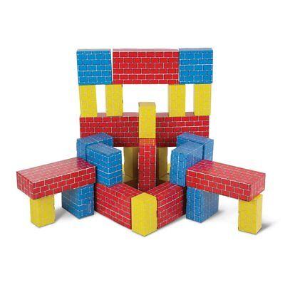 Melissa  Doug Jumbo Extra-Thick Cardboard Building Blocks - 40 Blocks in 3 - Melissa And Doug Cardboard Blocks