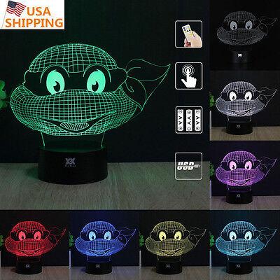 Teenage Mutant Ninja Turtles 3D Led Night Light 7 Color Usb Table Desk Lamp Gift