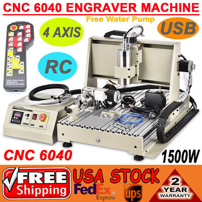 Usb 4 Axis Cnc Router 6040 1500w Vfd Engraver Milling Cutting Machine Kit Rc