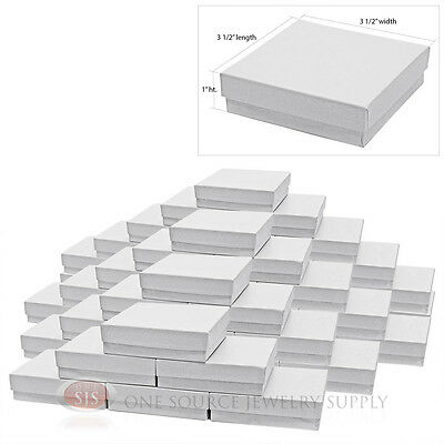 """50 White Swirl Cardboard Cotton Filled Jewelry Gift Boxes 3 1/2"""" X 3 1/2"""" x 1""""H"""