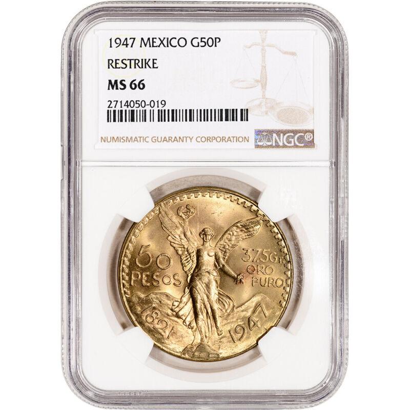1947 Mexico Gold 50 Pesos Restrike - NGC MS66 KM# 481