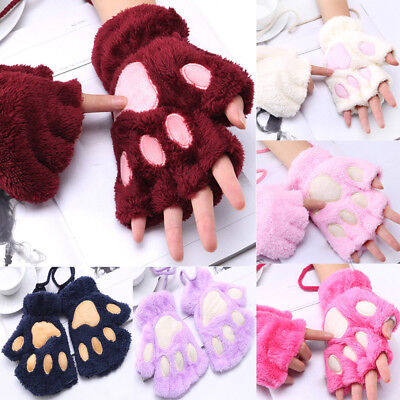 Women Warm Cute Cat Claw Paw Plush Mittens Short Fingerless Gloves Half Finger - Cat Paw Gloves